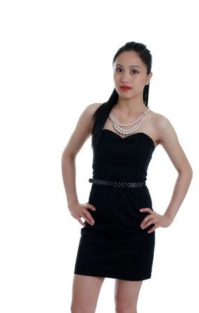 philippine adult: Asian woman in a little black dress isolated