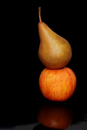 Bosc pear and Gala apple photo