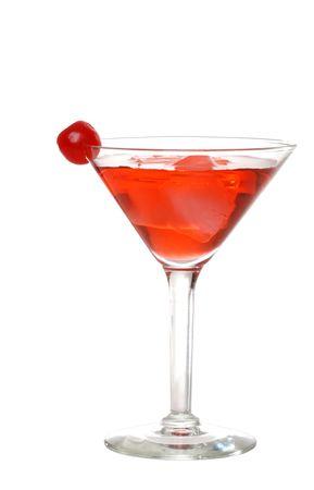 cocktail fruit: Martini rojo aislado con una cereza Foto de archivo