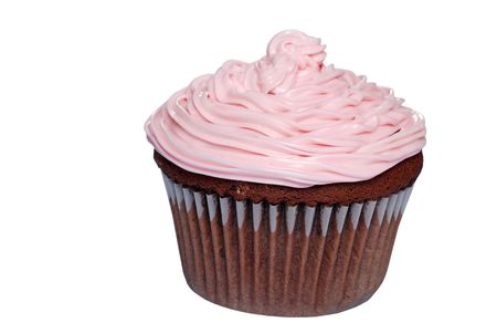 sweetest: Isolated chocolate cupcake with pink frosting