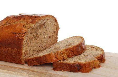 banana bread:  Isolated sliced banana bread Stock Photo