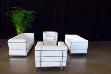 White Leather Couch Set Stock Photo