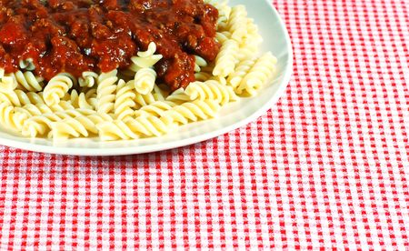 spaghetti made with Fusilli noodles and meat sauce