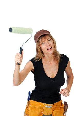 roller: Angry female painter waving a paint roller