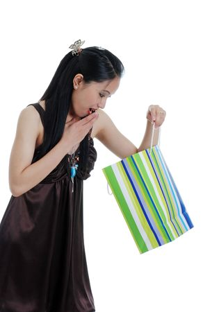 philippino: woman surprised by a present Stock Photo