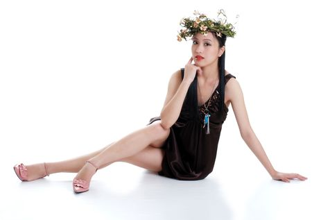 philippine adult: oriental woman wearing flowers isolated