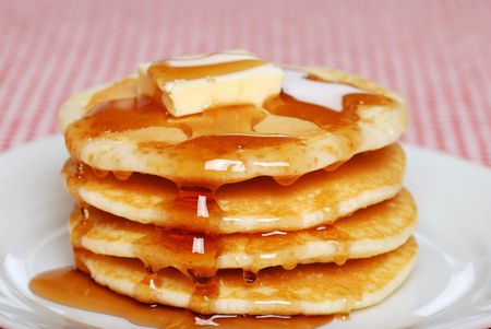 pancakes with syrup and butter Banco de Imagens