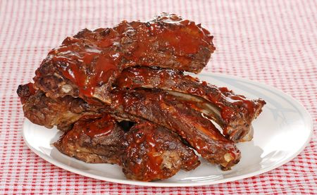 Stack of barbecue beef spare ribs with sauce Stock Photo