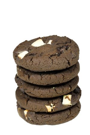 Isolated stack of chocolate cookies Reklamní fotografie