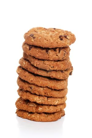 oatmeal: stack of oatmeal chocolate chip cookies