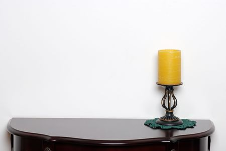 simple life: Table with a wax candle lamp