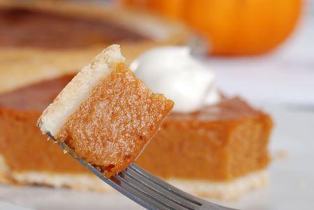 pumpkin pie: bite of pumpkin pie