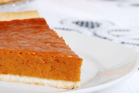 pumpkin pie: pumpkin pie slice closeup