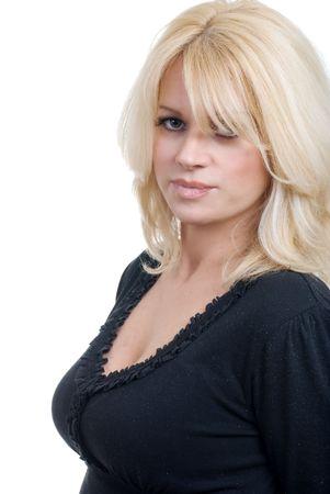 Smiling blond woman portrait