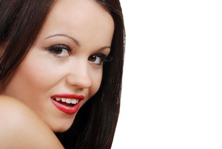 smiling brunette woman with red lipstick Stock Photo - 5693689