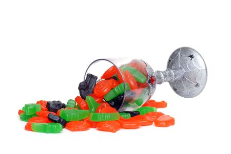 spilled glass of halloween candy Stock Photo - 5698018