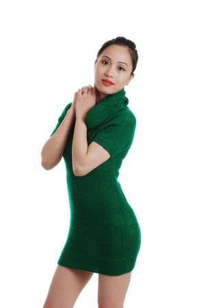 philippine adult: sexy young woman in a green knit dress