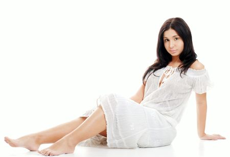 sexy hispanic woman wear a white lace dress photo