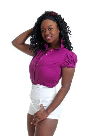 sexy black woman wearing white shorts photo