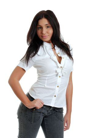 sexy hispanic woman with her thumb in her pocket photo