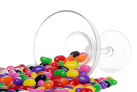 margarita glass: spilled jelly beans from a margarita glass