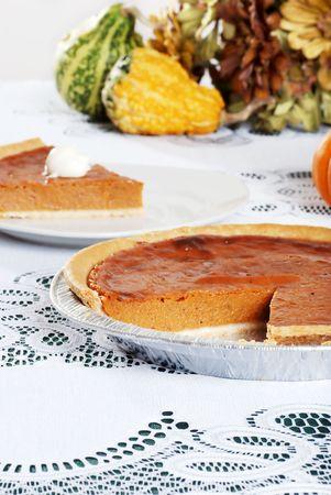 pumpkin pie in foil pan photo