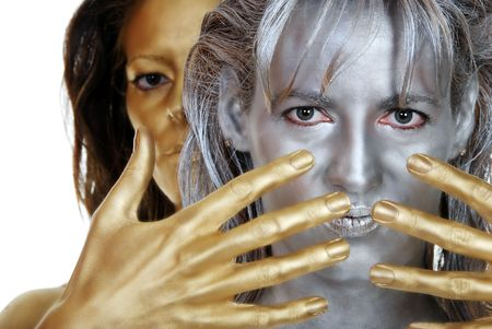 silver and gold woman photo