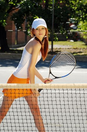 young woman ready for tennis action Stock Photo