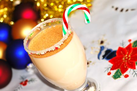 Egg Nog With Candy Cane photo
