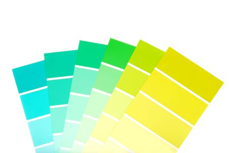 green to blue color paint chips photo
