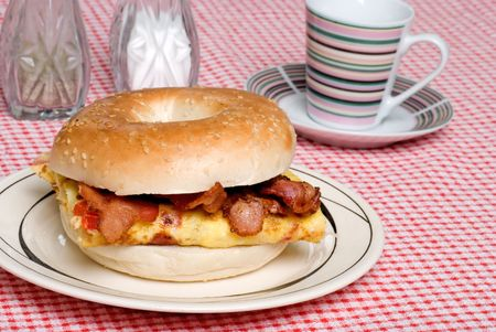 Omelet with bacon sandwich photo