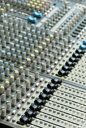 sound board mixer with shallow depth of field Stock Photo