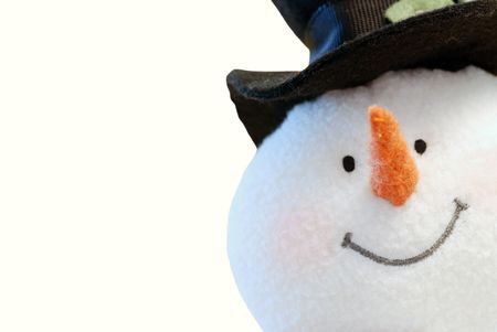nose close up: Snowman face isolated