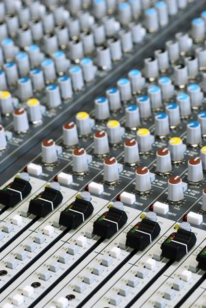 audio mixer: sound board mixer with focus on black sliders