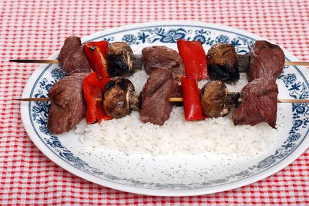 beef kabobs with vegetables photo