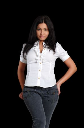 sexy young latin woman wearing jeans photo