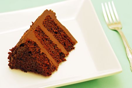 chocolate cake on a plate with a fork Stock Photo
