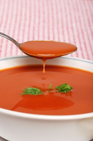 tomato soup dripping with basil Stock Photo - 5809597