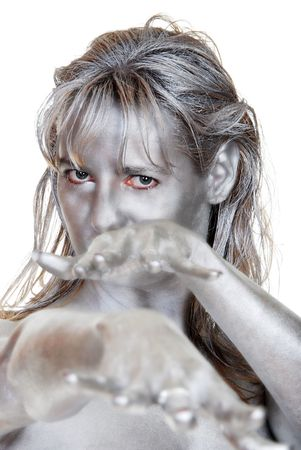 body paint: young woman with silver body paint Stock Photo