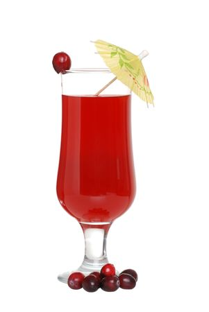 cranberry juice with cranberries and umbrella photo