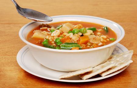 serving of vegetable soup photo