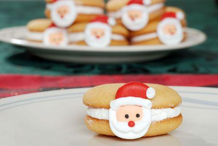 closeup santa face cookie