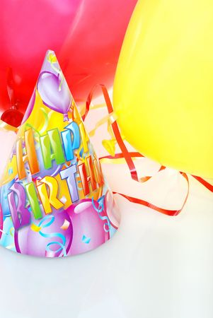 new age: Birthday Hat With Balloons Stock Photo