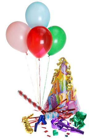 streamers: Fuente de la fiesta de cumplea�os con globos Foto de archivo