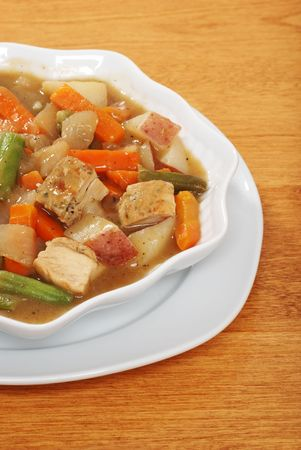 chunky: chunky homemade chicken stew Stock Photo