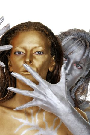 Gold And Silver Women Body Painted Archivio Fotografico