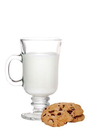Glass Of Milk And Cookies Focus On Mug photo