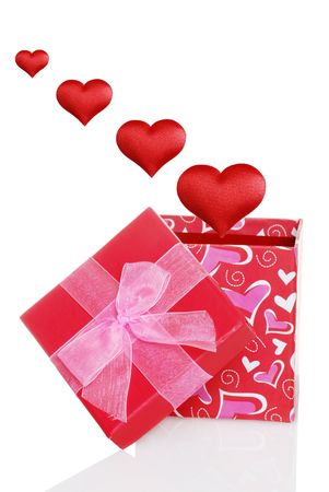 valentines gift box with red hearts flying out Stock Photo - 6182288