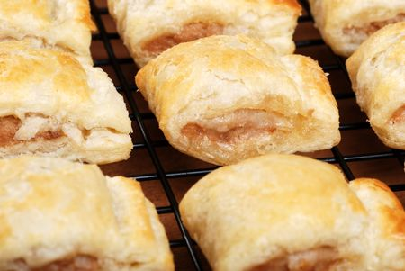 baked: fresh baked sausage rolls