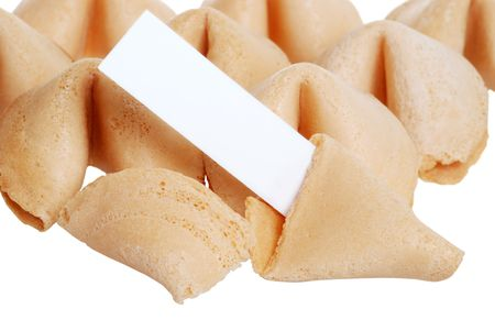 lots of fortune cookies with blank paper photo